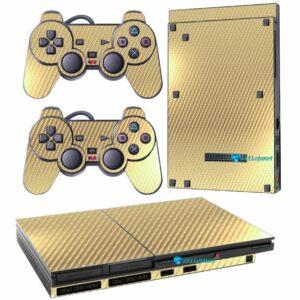 Adesivo Skin Playstation 2 Slim PS2 V1 Pelicula Fibra Dourado.jpg