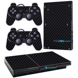 Adesivo Skin Playstation 2 Slim PS2 V1 Pelicula Fibra Preto.jpg