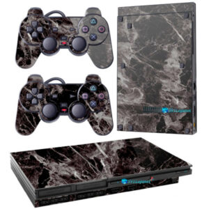 Adesivo Skin Playstation 2 Slim PS2 V1 Pelicula Marmore Nero