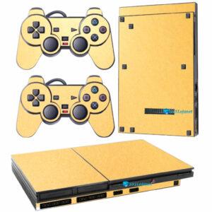 Adesivo Skin Playstation 2 Slim PS2 V1 Pelicula Metalico Brilho Gold