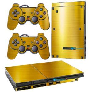 Adesivo Skin Playstation 2 Slim PS2 V1 Pelicula Ouro Cromo Escovado