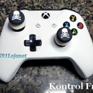 Kontrol Freek Analogico Controle Xbox One FPS Shooter Tiro Extensor Protetor Grip Skull Branco